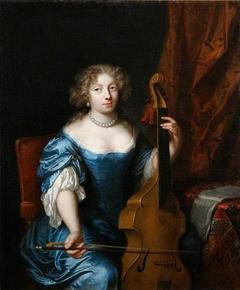 A Lady playing a Viola da Gamba
