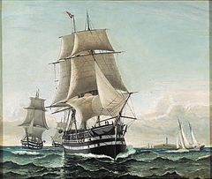 A squadron of sailing ships.