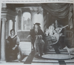 A Woman kneeling by a Fire with a Musical Company