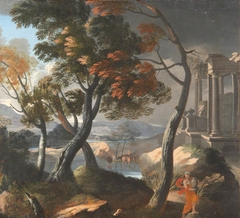 A Wooded River Landscape with a Ruined Temple, Trees and a Woman with a Pitcher