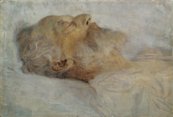 Alter Mann auf dem Totenbett