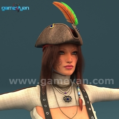 Angela 3D Woman Pirates Character Rigging by Game Development Companies