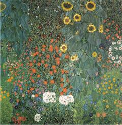 Bauerngarten mit Sonnenblumen