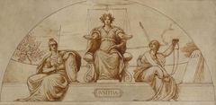 """Cartoon for mural of Minnesota State Capital, """"Institute of Justice"""""""