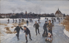 Children skating outside Fåborg