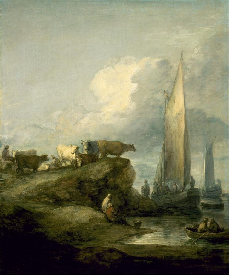 Coastal Scene with Shipping and Cattle