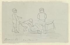 Drie kinderen spelend op het strand van Zandvoort
