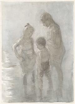 Drie pootjebadende kinderen