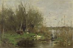 Ducks beside a duck shelter on a ditch