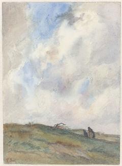 Duinlandschap bij storm met twee figuren