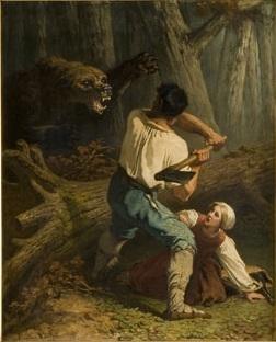 Een beer overvalt een houthakker, genaamd 'Strijd op leven en dood'
