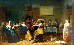 Elegant company playing music and drinking in an interior