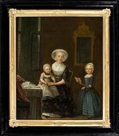 Familieportret van Neeltje Zijlstra en haar kinderen, Hanna en Anna
