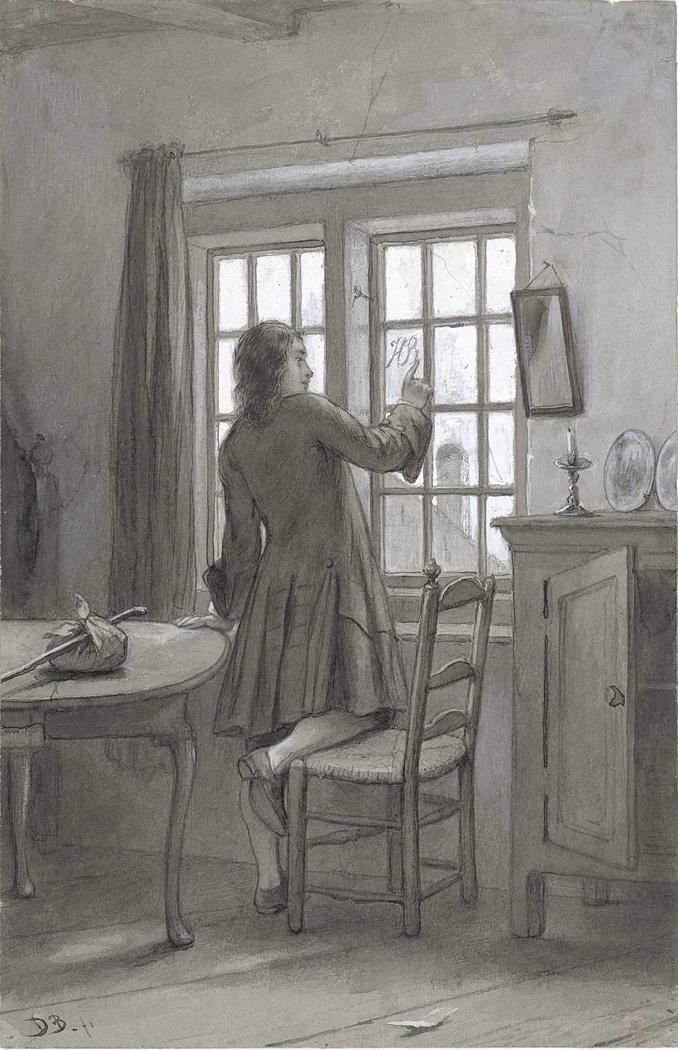 Ferdinand Huyck schrijft de initialen van Henriëtte Blaek op de ruit