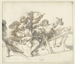 Five Drunken Villagers and a Woman on a Sleigh