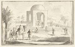 Gezicht op een moskee of tempel in de woestijn