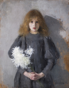 Girl with Chrysanthemums