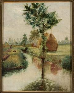 Haystacks at a stream