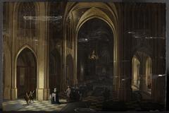 Inneres einer gotischen Kirche mit einer Taufprozession