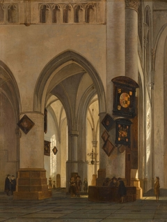 Interior of St Bavo Cathedral, Haarlem, with Figures Conversing