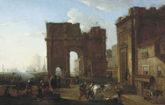 Italian Harbour with Triumphal Arch
