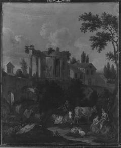 Italienische Landschaft mit Vieh und Hirten, antiker Ruine und Klosterkirche
