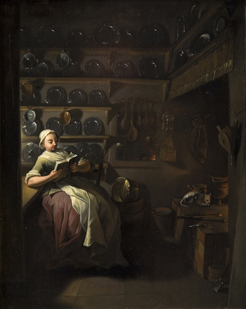 Kitchen Interior with a Girl Reading