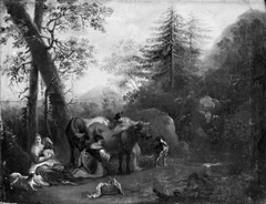 Landscape with Cattle, the Shepherdess Milking the Cow