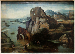 Landscape with the baptism of Christ and the going to Emmaus