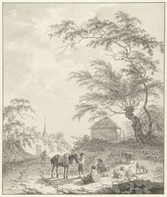 Landschap met figuren langs een weg