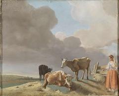 Landschap met koeien, schapen en herderin, gewijzigde kopie naar een schilderij van Paulus Potter, de herderin gekopieerd van een schilderij van Karel Dujardin  (recto); onvoltooid portret van een man (verso)