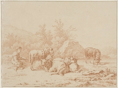 Landschap met schaapherder en zijn kudde