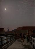 Langebro, Copenhagen, in the Moonlight with Running Figures