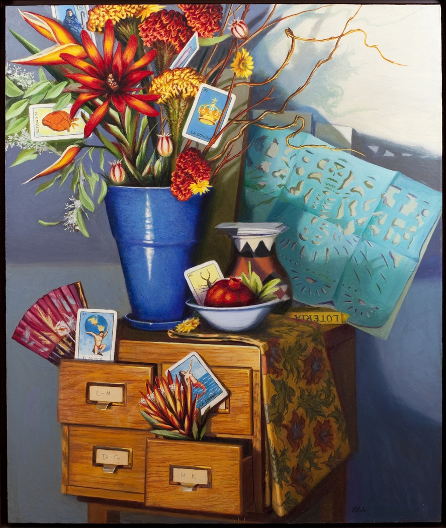 """Lotería"" by Lydia Martin ©2014 oil on Belgian linen (40""x30"")/ Lotería series"