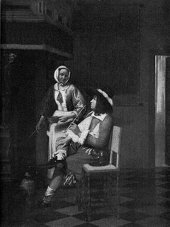 Man smoking and a young woman by a hearth