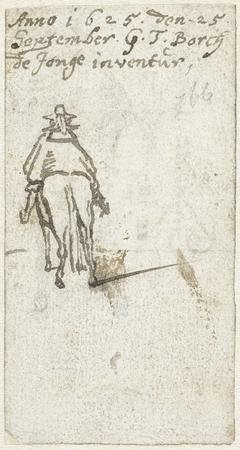 Man te paard, van achteren gezien