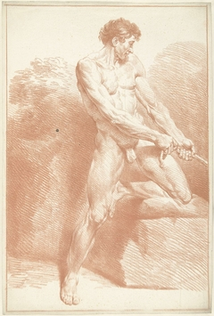 Mannelijk naakt, staand, trekkend aan een touw