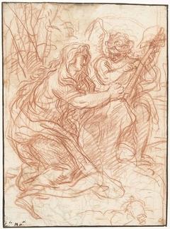Maria Magdalena het Kruis aanbiddend