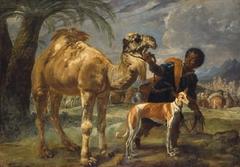 Mohr mit Windhund und Dromedar
