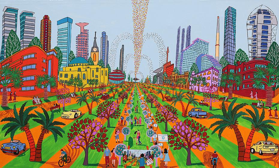 naif art  urban painting cityscape naive paintings folk artist israeli painter raphael perez naife artists painters