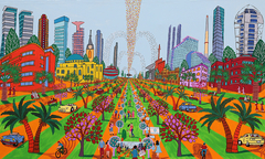 naif art  urban painting cityscape naive paintings folk artist israeli painter raphael perez naife artists painters