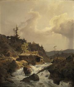 Norwegische Landschaft mit Sägemühle