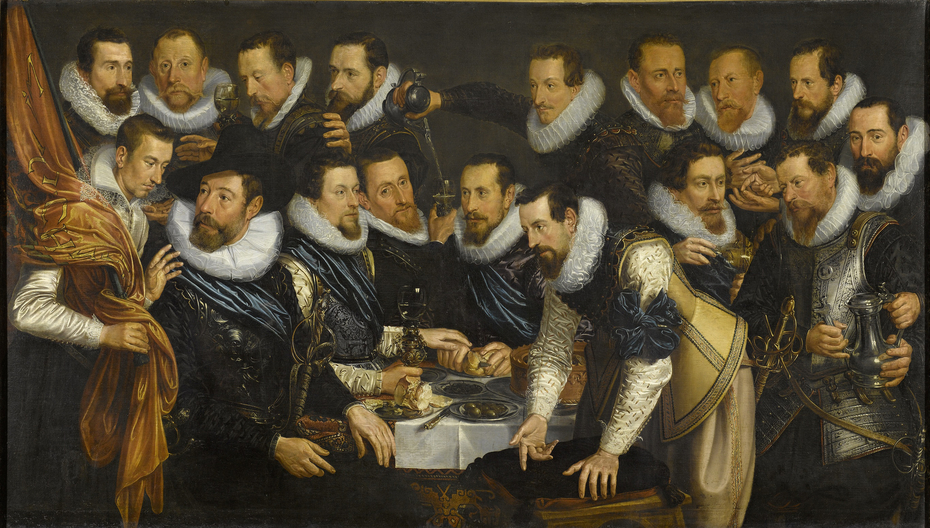 Officers and other civic guardsmen of the XIth District of Amsterdam, under the command of Captain Geurt Dircksz van Beuningen and Lieutenant Pieter Martensz Hoeffijser