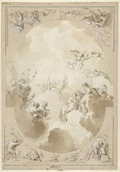 Ontwerp voor een plafondschildering met de apotheose van Hercules en vier van zijn werken