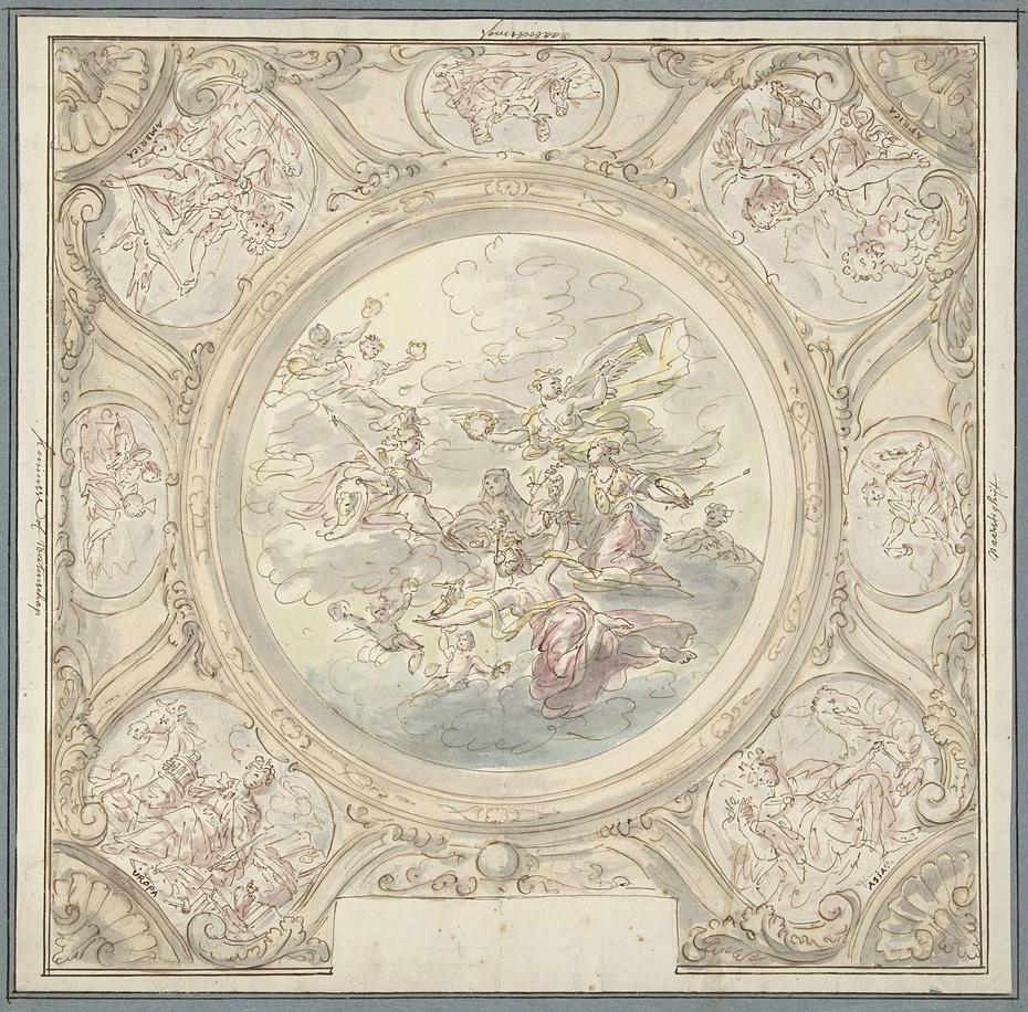 Ontwerp voor een plafondschildering met een allegorie met Minerva