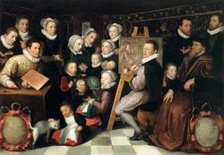 Otto Venius peignant entouré des siens