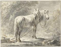 Paard voor een slede, naar rechts