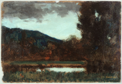 Paysage d'Alsace, crépuscule