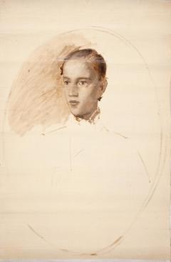 Portrætskitse. Formodentlig kunstnerens søn Thorald Jerichau
