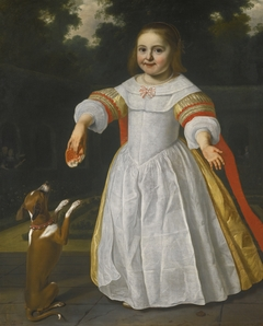 Portrait of a Girl with a Bread-bun and a Dog
